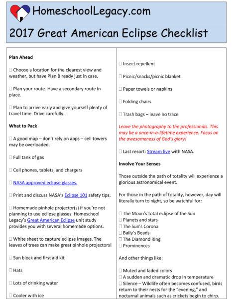 Eclipse Checklist